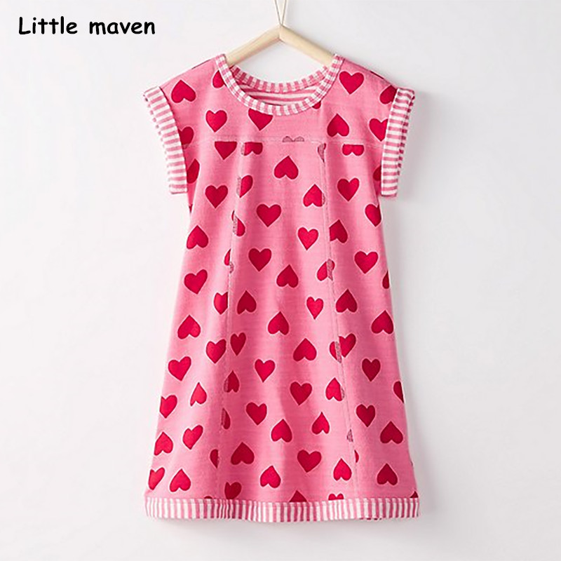 Little maven 2018 new summer baby girls brand dress kids Cotton heart print short sleeve dresses S0320 crooked little heart