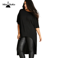 Misskoko 2017 Plus Size Women Clothing Black Streetwear Female T Shirt Summer Short Sleeve Large Size