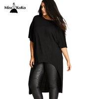 Misskoko 2017 Plus Size Women Clothing Black Streetwear Female T Shirt Summer Short Sleeve Large Size