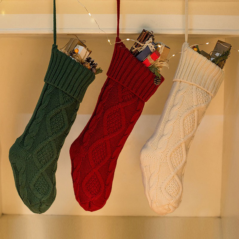 Christmas stockings hanging ornaments knitted wool candy bags ...