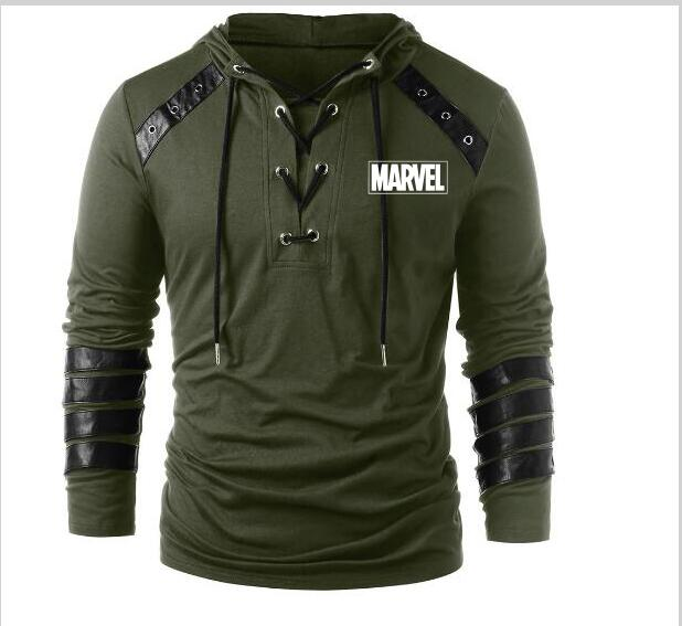 New casual fashion Super hero MARVEL hoodie men's MARVEL knitted leather hoodie long-sleeved cotton coat(China)