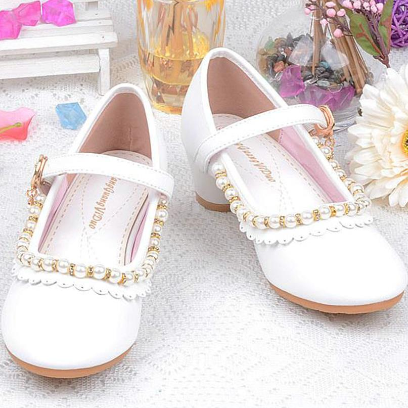 qloblo 2018 new Leather shoes Sandals Children Princess shoes Kids Girls beading Shoes High Heels Dress Party Shoes eu26-36