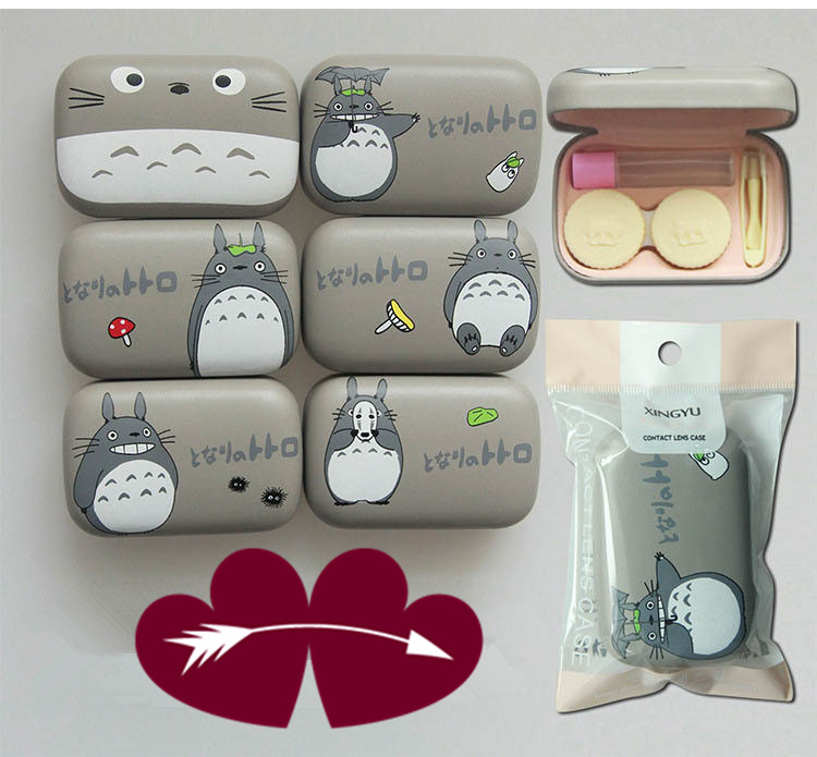 LIUSVENTINA Portable Leather Cute Totoro Chinchillas Contact Lens Case with Mirror for Color Lenses Gift for Boys and Girls