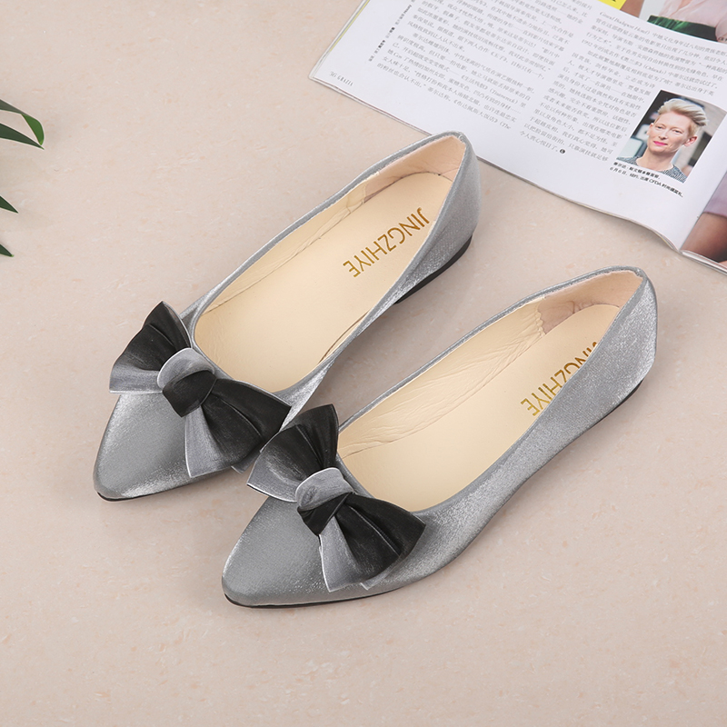 Women Flat Shoes 2019   Suede     Leather   Sweet Butterfly-knot Shallow Women Boat Shoes Slip on Ladies Loafers Spring Women Flats
