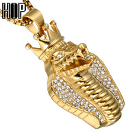 HIP Hop Iced Out Bling Full Rhinestone Big Cobra Snake Men Pendants Necklaces Gold Color Stainless