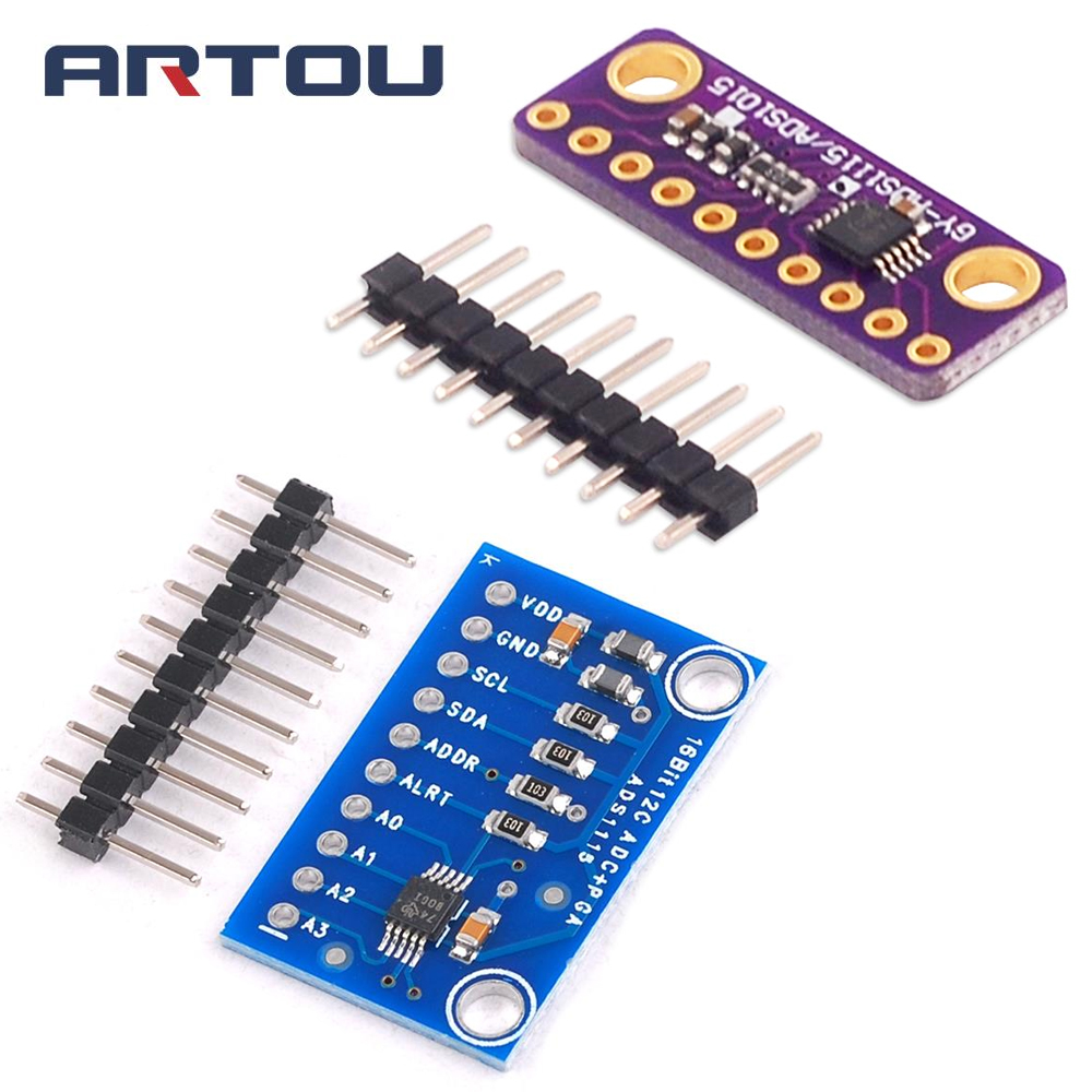 I2C ADS1115 <font><b>16</b></font> <font><b>Bit</b></font> <font><b>ADC</b></font> 4 Channel Module with Programmable Gain Amplifier 2.0V to 5.5V for <font><b>Arduino</b></font> RPi image