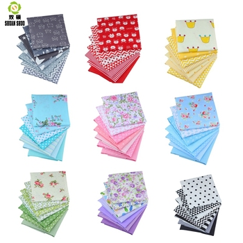 Packs de charme de haute qualité   10 styles, tissu Patchwork, tissu coton Quilting, pour coudre, tissu fait à la main, bricolage 7 couleurs/ensemble