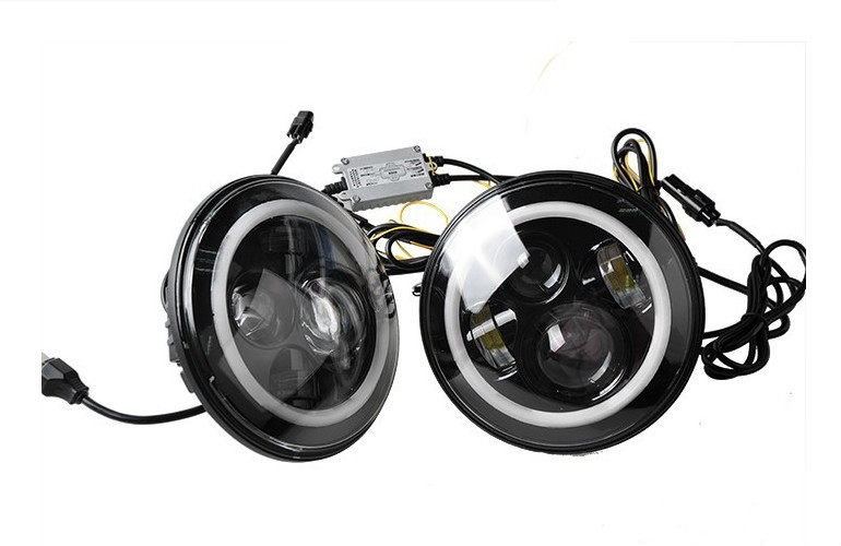 2pcs Motorcycle 7 Inch Headlights Projector Daymaker LED Headlight Angel Eye H4 H13 Harness, Halo HeadLamp For Harley Davidso black chrome 7 hid led headlight with halo drl projector daymaker driving headlamp angel eyes for harley davids motorcycle