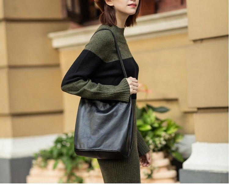 American Elegant Genuine Leather Handbags Small Women Shoulder Bag Solid Bucket Bag Natural Skin Cowhide