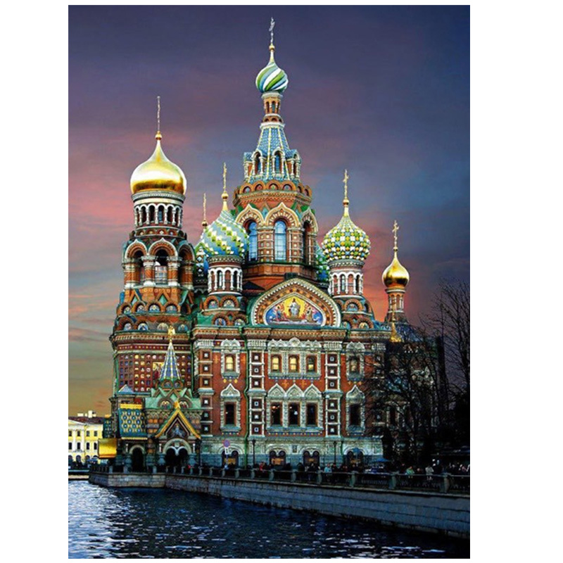 3d diy Diamond Painting cross stitch Diamond embroidery Vasili Cathedral round Resin Pasted Diamond Patterns scenery landscape