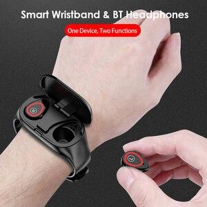 Image 5 - 2 in 1 Smart Watch Men Wireless Bluetooth 5.0 Headphones Earbuds Fitness Bracelet Tracker Steps Heart Rate Waterproof Smartwatch