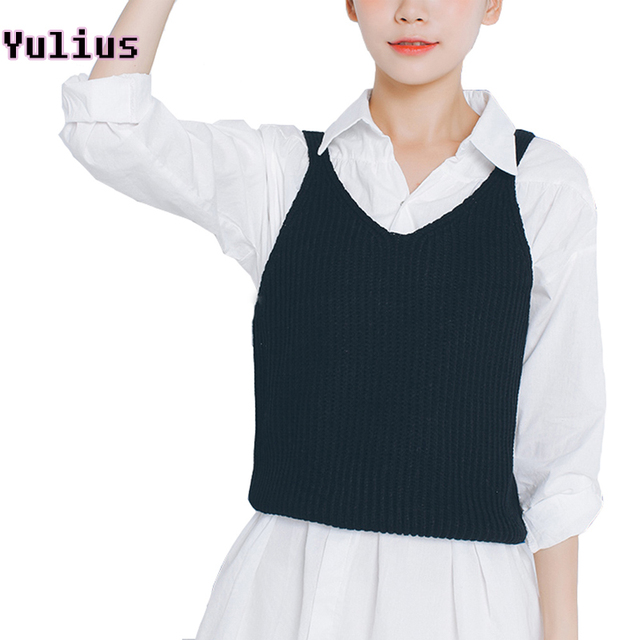 2017 Korean Style Women Sweater Vest Female Solid Color Knitted ...
