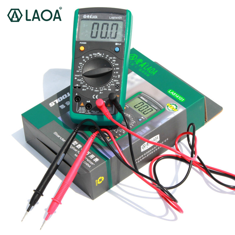 LAOA Digital Multimeter Auto range Instrument Probe Amp meter Ammeter For AC/DC voltage current temperature resistance testing 100% original fluke 15b f15b auto range digital multimeter meter dmm