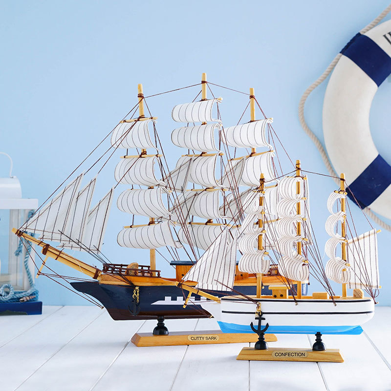 Wooden sailing model DIY home micro landscape decoration wooden crafts in Figurines Miniatures from Home Garden