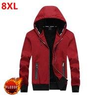 New winter hooded men with thickening cashmere warm hoodie fleece big Size 8XL men's oversized Plus velvet thickening 7XL 6XL