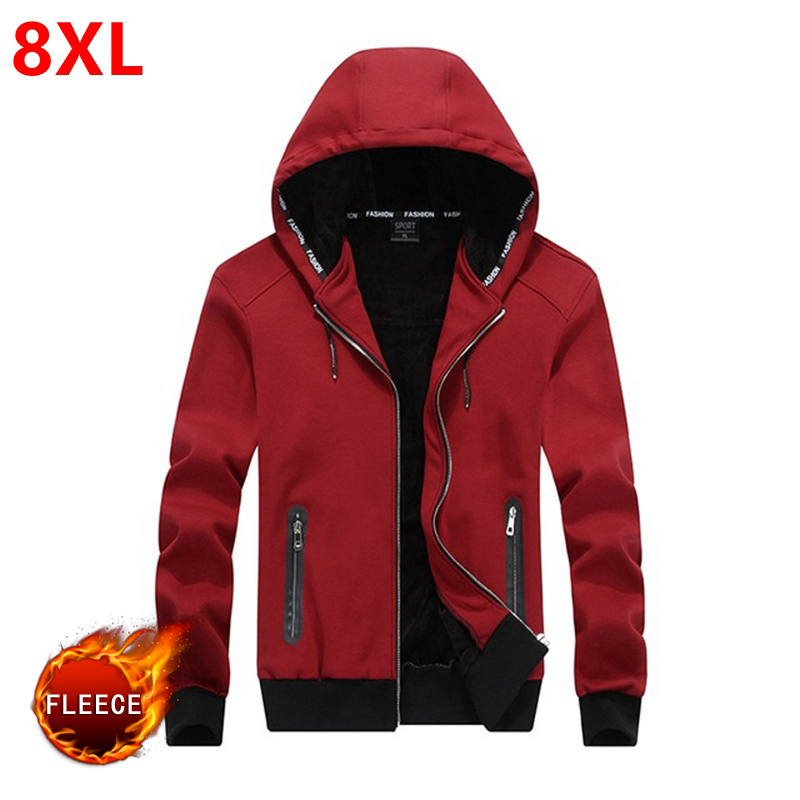 New winter hooded men with  thickening cashmere warm hoodie fleece big Size 8XL men's oversized Plus velvet thickening  7XL 6XL
