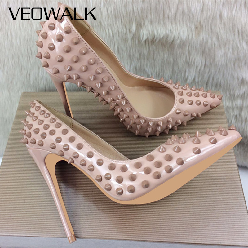 Veowalk White Rivets Women Sexy High Heels Rubber Studs Ladies Fashion Pointed Toe Club Party Pumps Woman Slip On Thin Stilettos