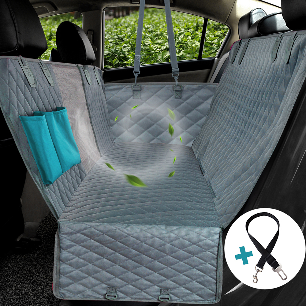 Oxford Car Back Seat Cover Hammock Waterproof w// Mesh Window For Pet Dog Travel