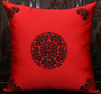 Vintage Embroidery Lucky Chinese Cushion Cover Pillow Covers for Christmas Chairs Sofa Decorative Silk Satin Pillow Case