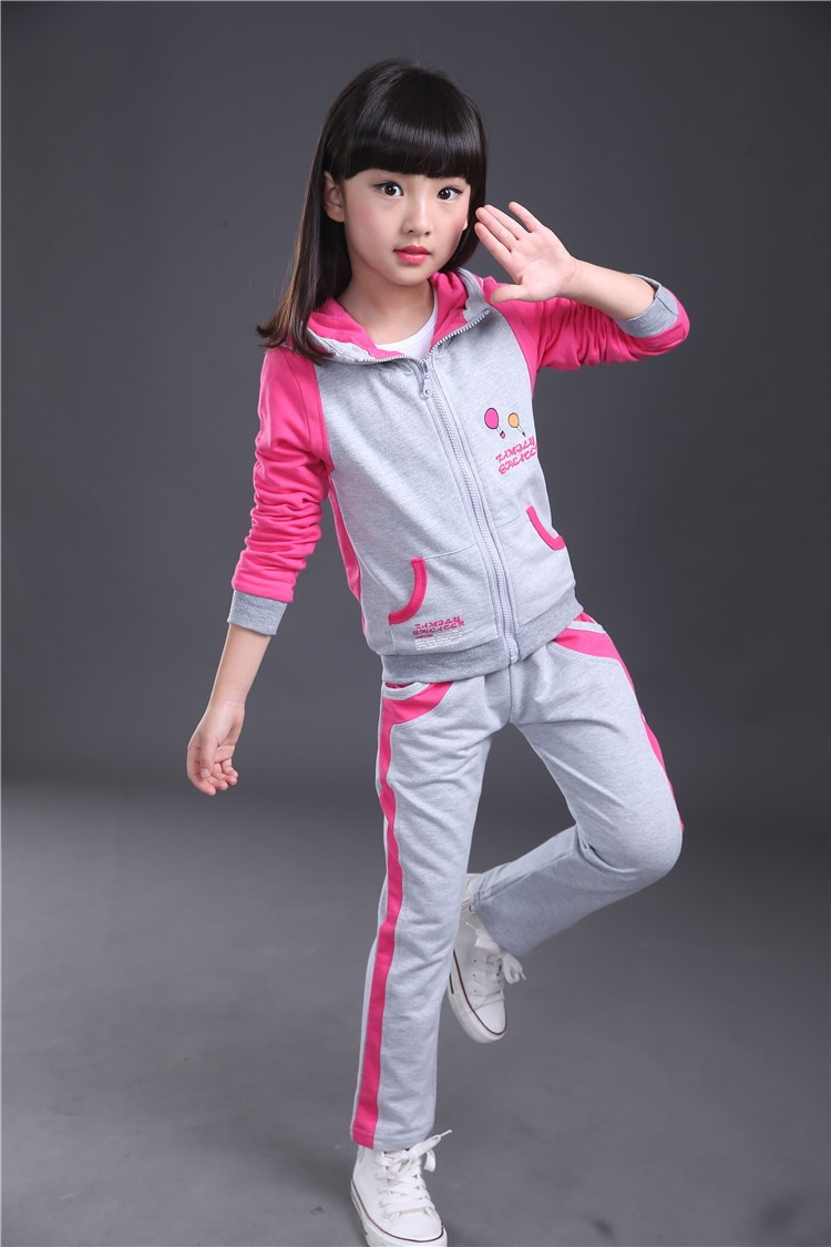 WENDYWU NEW ARRVIAL  Spring and autumn of the new two sets of female large child cotton sweater set 4-15 years old suit
