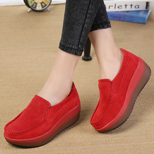 Image 4 - DONGNANFENG Womens Woman Female Ladies Cow Suede Genuine Leather Shoes Flats Loafers Platform Moccasins Elegant Slip On PX 3213