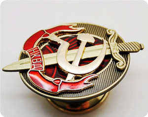 Image 4 - NKVD multilayer copper enamel shield and sword badge of the early KGB interior ministry