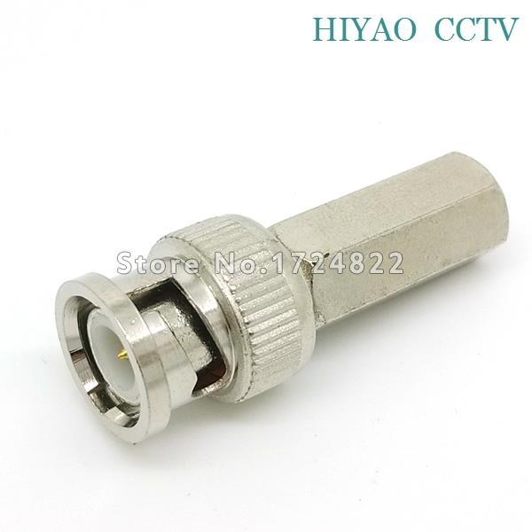 10pcs RG59 BNC male Plug pin Solderless Straight Angle Connector for CCTV Camera Connector  цены