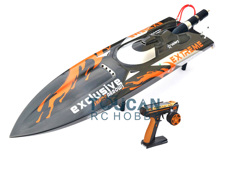 G30D ARTR-RC Fiberglass RC Monohull Boat 30CC Engine RadioSys GREY with Orange Flames rc boat gas engine new cnc competitive edition 26cc rc boat engine for racing boat vs zenoah g290pum
