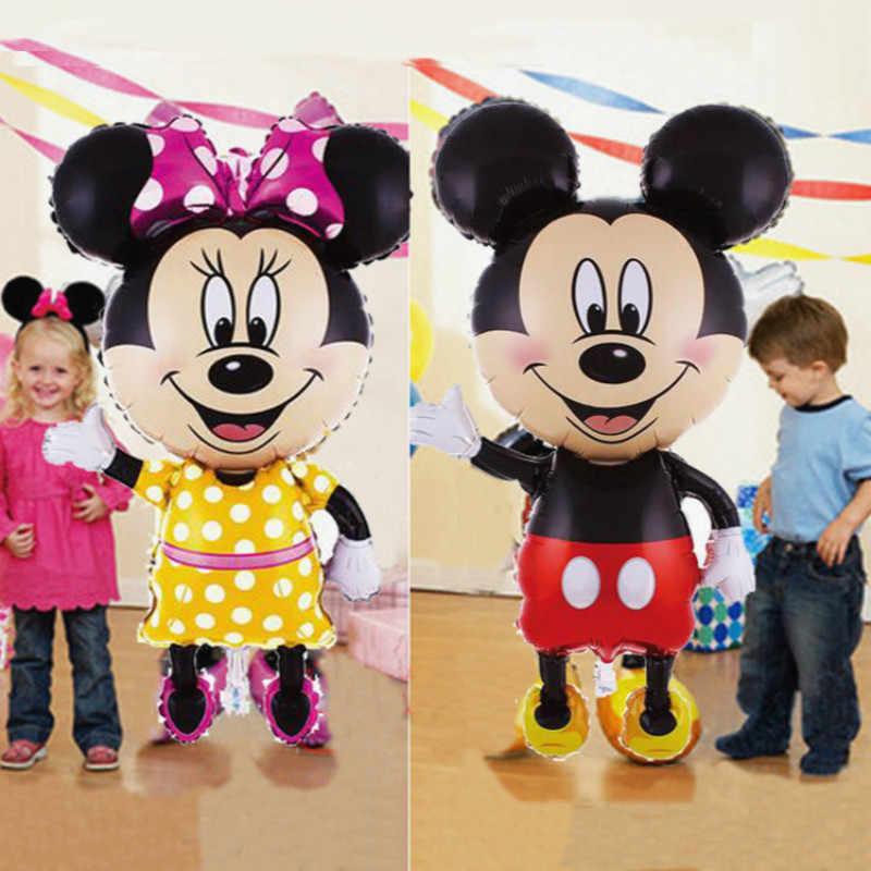 112 cm ענק מיקי מיני מאוס המפלגה DIY קישוטי בלון רדיד קריקטורה מסיבת יום הולדת בלון ילדים קישוטים
