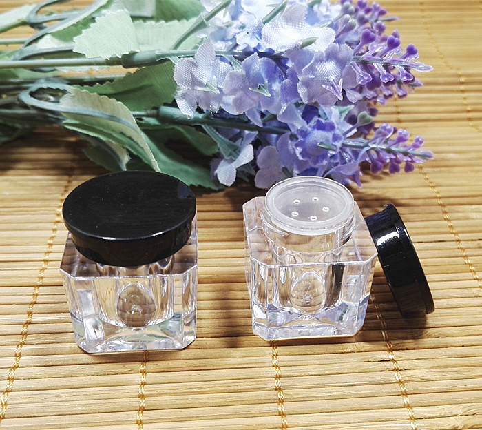 1g Travel Mini Square Loose Powder Case with Grid Sifter Empty Clear Cosmetic Foundation Powder Container Top Grade Makeup Boxes bob cosmetic makeup powder w puff mirror ivory white 02