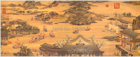 Dragon boat competition Ming dynasty Qiuying masterpiece reproduction traditional Chinese style oil painting scenery
