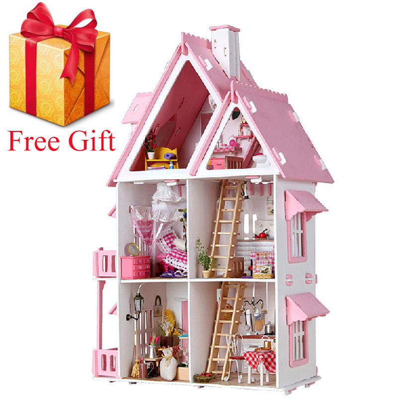 New 3D Wooden Doll House Villa Furniture DIY Miniature Model LED Light 3D Wooden Dollhouse Christmas Gifts Toys For Children(China)
