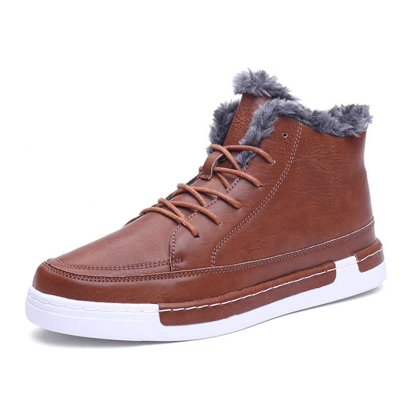 2017 Men s Skateboard Shoes High Ankle font b Boots b font Warm PU Leather Flat