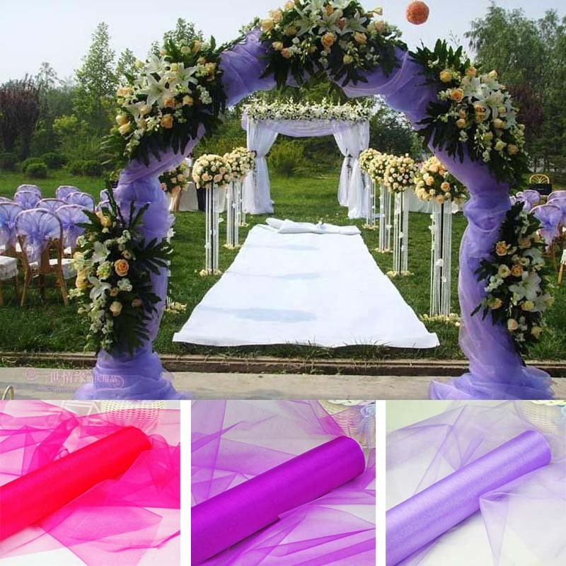 Party Diy Decorations 110m/lot Organza Fabric Roll White Pink Purple Fuchsia Red Yellow Color Chair Sashes Bouquet Wedding Arches Decoration 75cm Wide Online Discount
