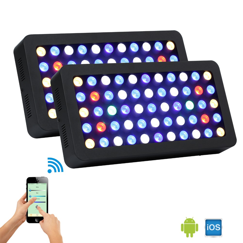 2pc/lot WIFI Controlled 165W Led Aquarium Light for Coral Reef saltwater/freshwater plants growth US/DE stock fast ship