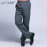2017 Latest Chef Trousers Elastic Waist Pants Hotel Restaurant Kitchen Food Service Man Striped Chef Work