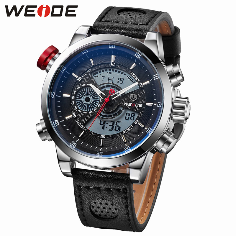 weide sport watches men luxury black leather strap quartz dual time zone analog date men military male clock oversize wristwatch WEIDE Luxury Brand Leather Watches Men Military Sports Quartz Analog Wristwatches Relogio Masculino Male Clock Time Hour Clock