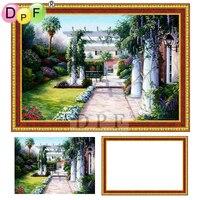 DPF 5D Diamond Embroidery Sunshine Garden Diamond Painting Cross Stitch With Frame Full Round Diamond Mosaic