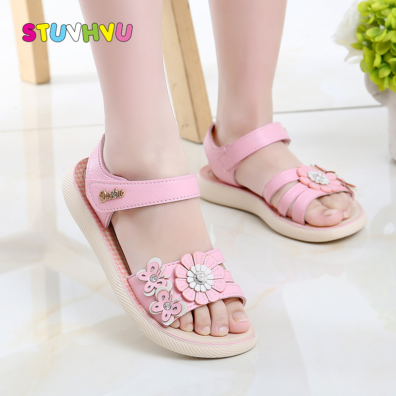 Girls Students Sandals Princess Shoes Leather Flowers Little Girl Shoes Toddler Kids Sandals 2019 Summer New Soft Children Shoes|Sandals| |  - title=