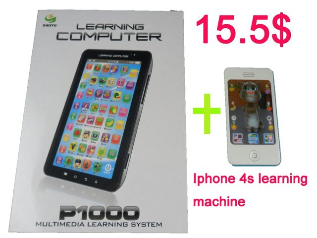 Hot sale Two pieces for laptop+ iphone 4s Learning machine combination toy, kid Learning machine combination, free shipping