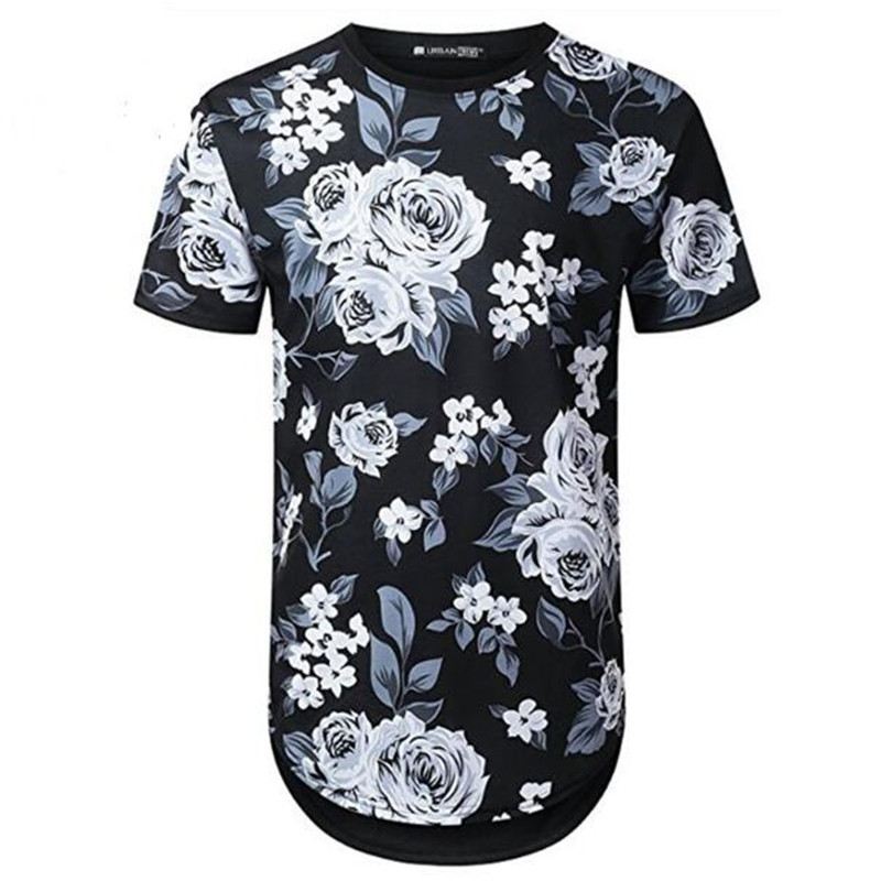 Mens Hipster Hip Hop Floral Printed Longline T shirt 2018 Summer Short Sleeve Extra Long Tee Shirt Casual Brand Tshirt XZ547