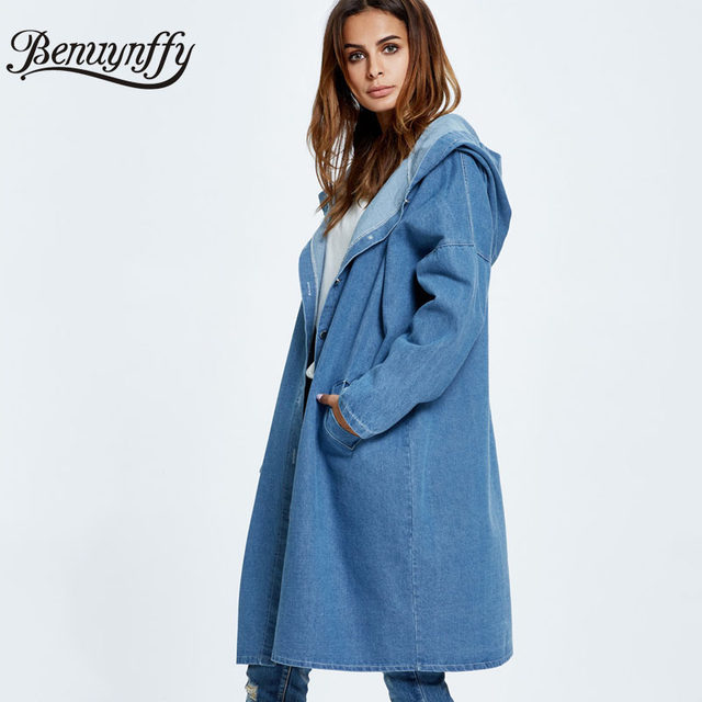 af21b9495 best 12402 0ec0e yi la 2018 spring autumn new hit color hooded denim ...