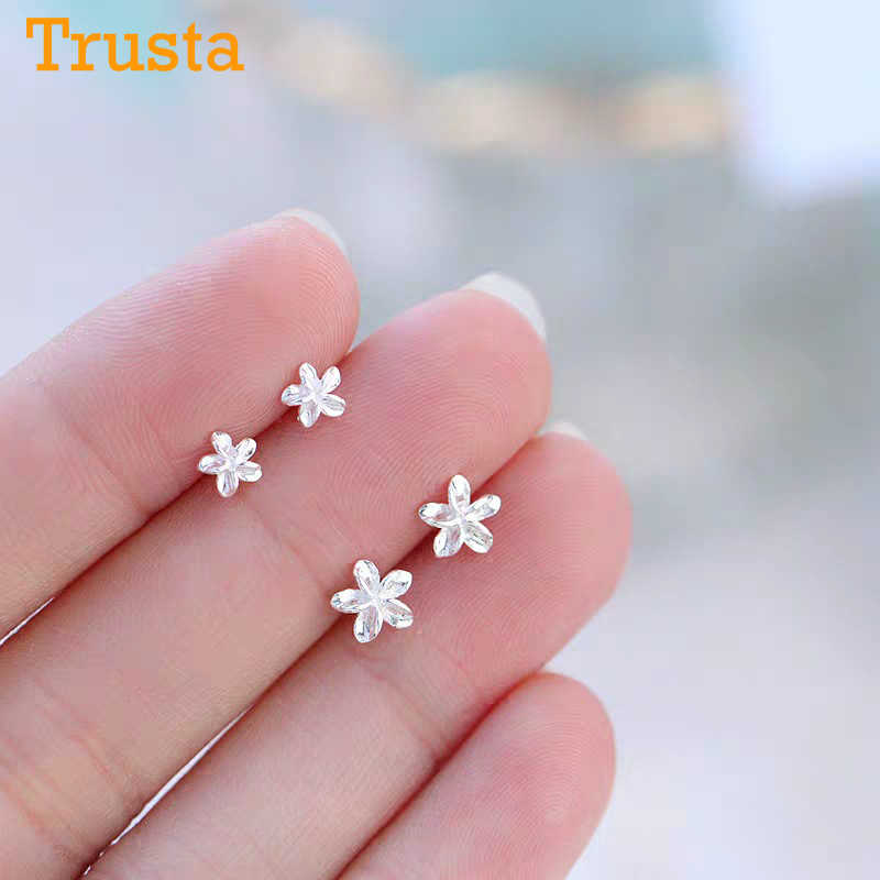 Trusta 1Pair 100% Real 925 Sterling Silver Jewelry Women Fashion Cute Tiny Flower Stud Earrings Gift For Girls Teens Lady DS197
