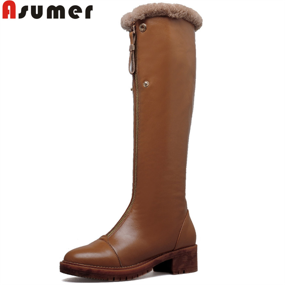 Asumer fashion autumn winter women boots square heel zipper genuine leather+Pu boots fur round toe cow leather knee high boots феникс презент фоторамка декоративная клетка для фото 10 15см