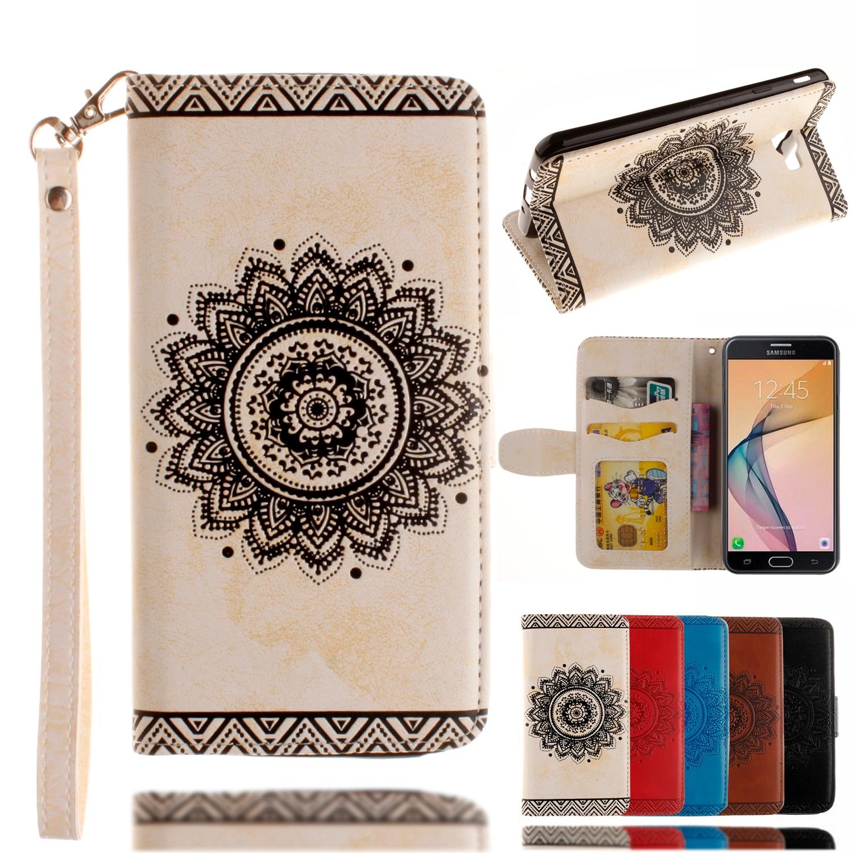 For Samsung Galaxy J7 Prime Flip Case Pu+plastic Holder Floral Vintage  Wallet Magnetic Stand Card Slot Case For Samsung On7 2016