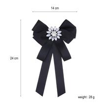 Match-Right Woman & Man Brooches Long Ribbon Big Stripe Bowknot Shirt's Bow Tie Pins Collar Accessories Brooch Jewelry SP271