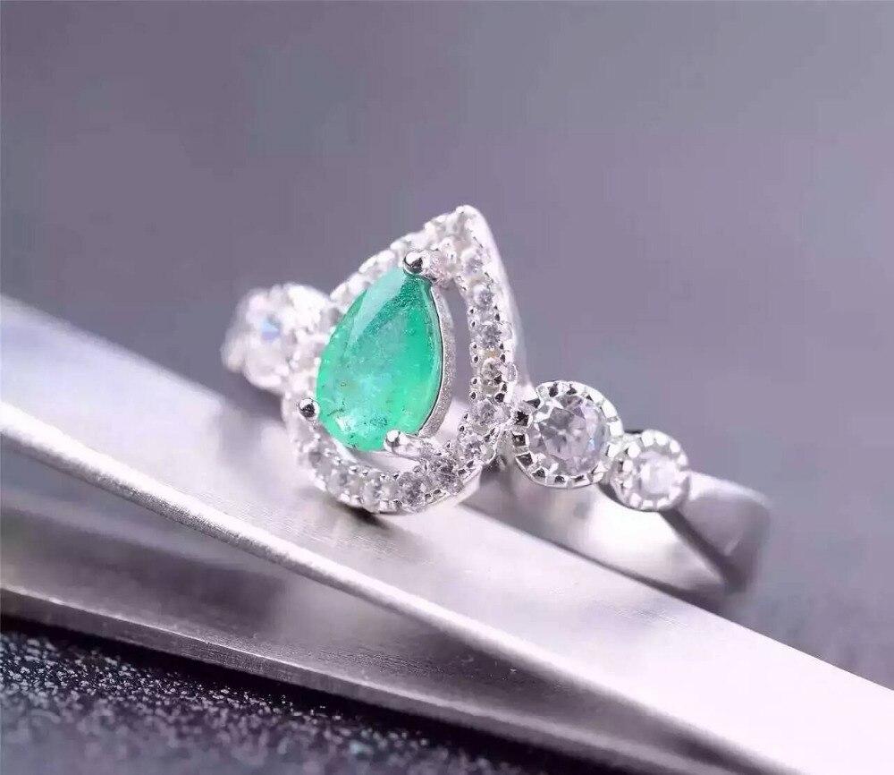 Натуральный Зеленый Изумрудный Gem Кольцо природных драгоценных камней кольцо стерлингового серебра 925 Модный Элегантный Капли воды женски...
