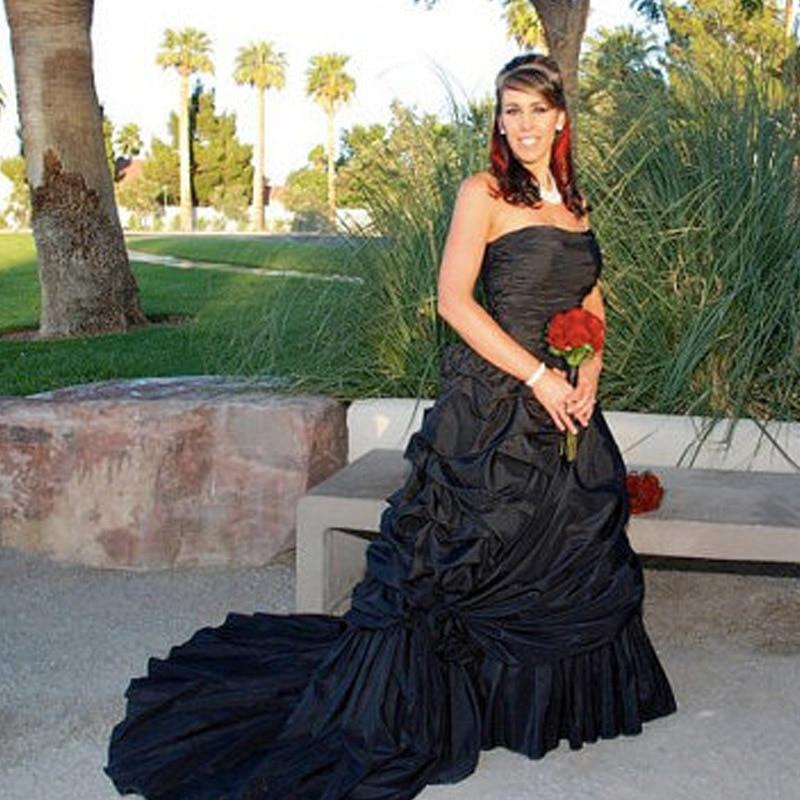 Robe De Mariage Black Wedding Dresses Gothic Taffeta