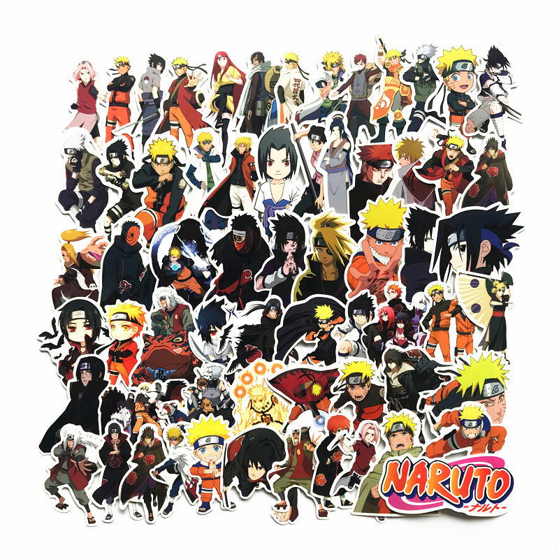 купить 63Pcs/lot japan anime Naruto sasuke Cartoon For Snowboard Laptop Luggage Fridge Car- Styling Vinyl Decal Home Decor Stickers по цене 133.03 рублей