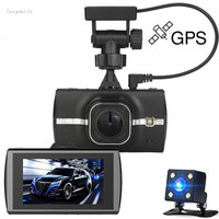 3.0 cal Samochodowym Dvr Gps Full HD 1080 p Dual Camara obiektyw Rejestrator Wideo ADAS LDWS Night Vision 170 Stopni WDR Yangmaile